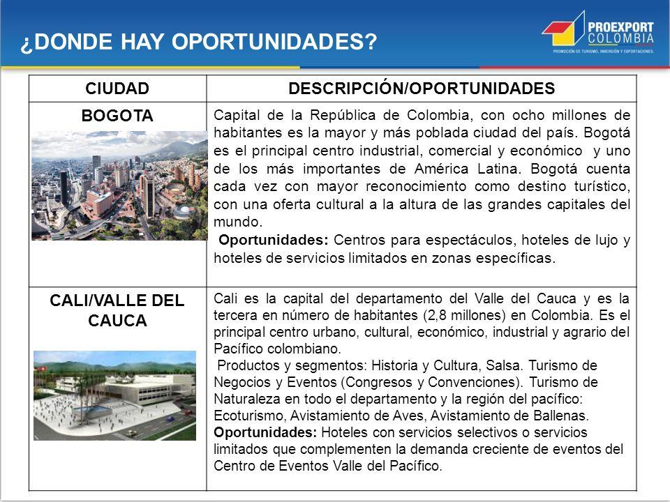 ¿DONDE HAY OPORTUNIDADES? CIUDADDESCRIPCIÓN/OPORTUNIDADES BOGOTA Capital de la República de Colombia, con ocho millones de habitantes es la mayor y má