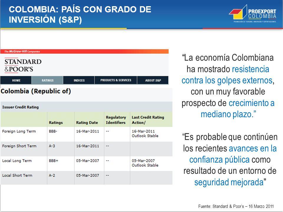 COLOMBIA: PAÍS CON GRADO DE INVERSIÓN (S&P) Es probable que continúen los recientes avances en la confianza pública como resultado de un entorno de se