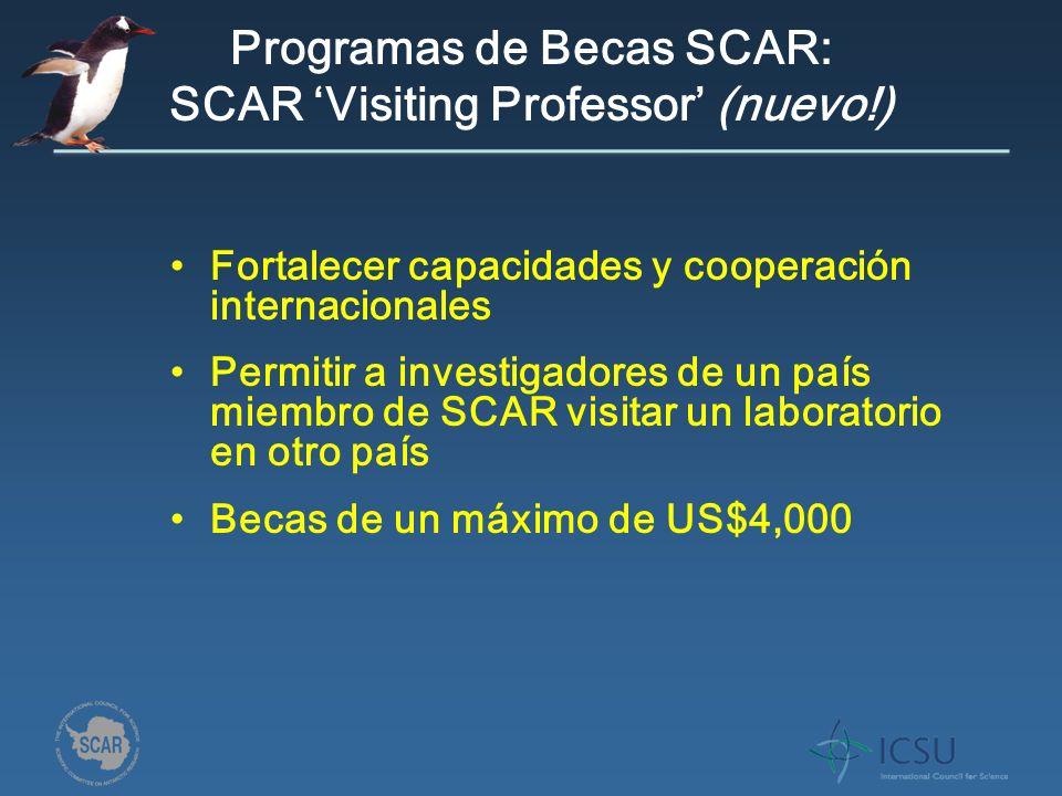 Programas de Becas SCAR: SCAR Visiting Professor (nuevo!) Fortalecer capacidades y cooperación internacionales Permitir a investigadores de un país miembro de SCAR visitar un laboratorio en otro país Becas de un máximo de US$4,000