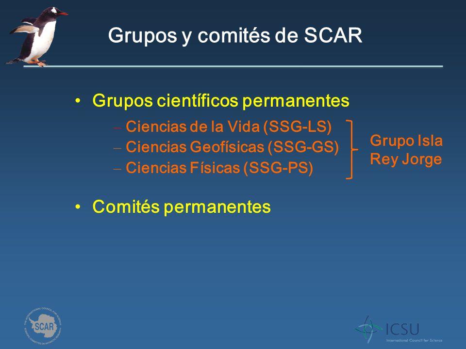 Grupos y comités de SCAR Grupos científicos permanentes Comités permanentes – Ciencias de la Vida (SSG-LS) – Ciencias Geofísicas (SSG-GS) – Ciencias Físicas (SSG-PS) Grupo Isla Rey Jorge