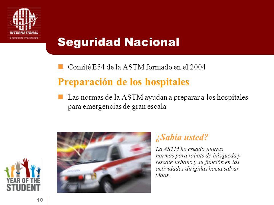 10 Seguridad Nacional Comité E54 de la ASTM formado en el 2004 Preparación de los hospitales Las normas de la ASTM ayudan a preparar a los hospitales