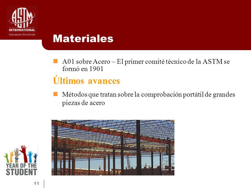 11 Materiales A01 sobre Acero – El primer comité técnico de la ASTM se formó en 1901 Últimos avances Métodos que tratan sobre la comprobación portátil