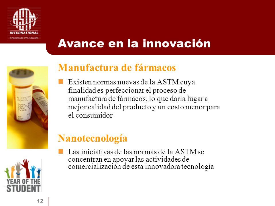 12 Avance en la innovación Manufactura de fármacos Existen normas nuevas de la ASTM cuya finalidad es perfeccionar el proceso de manufactura de fármac