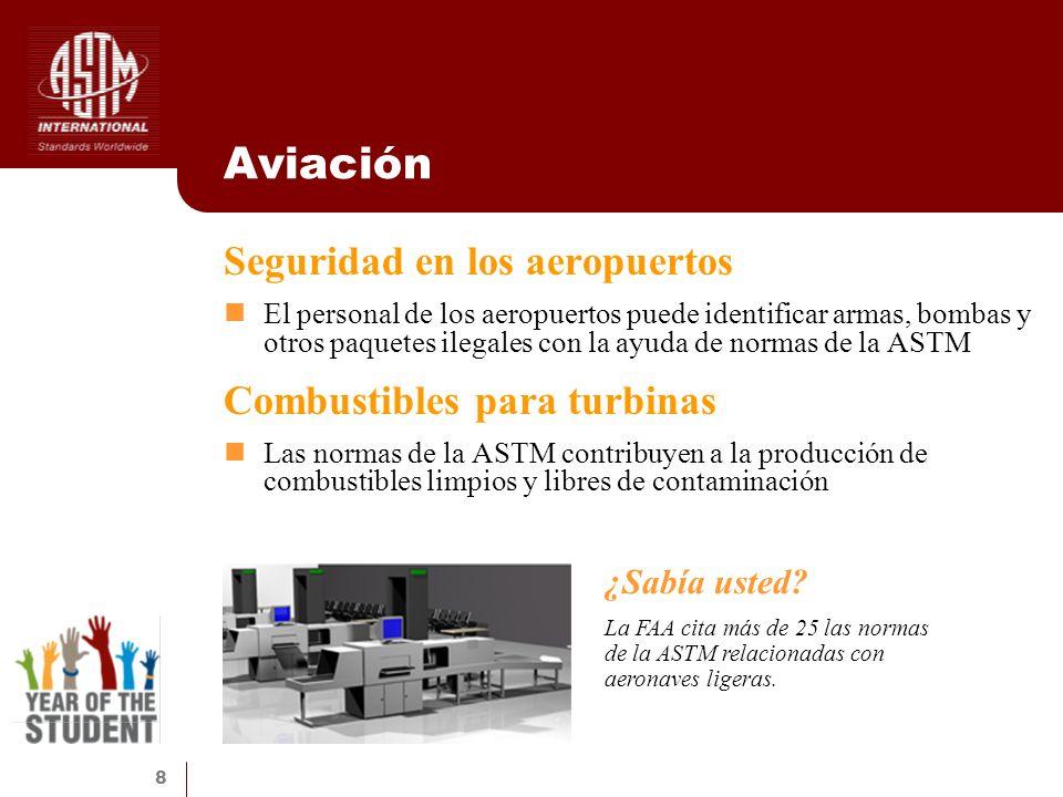 8 Aviación Seguridad en los aeropuertos El personal de los aeropuertos puede identificar armas, bombas y otros paquetes ilegales con la ayuda de norma
