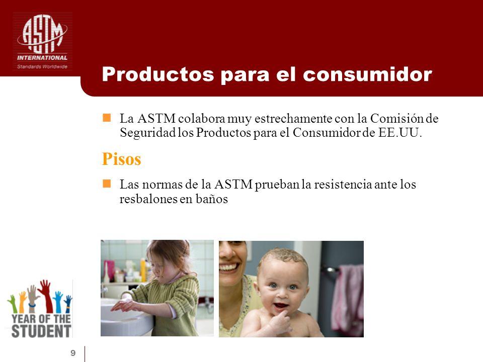 9 Productos para el consumidor La ASTM colabora muy estrechamente con la Comisión de Seguridad los Productos para el Consumidor de EE.UU. Pisos Las no