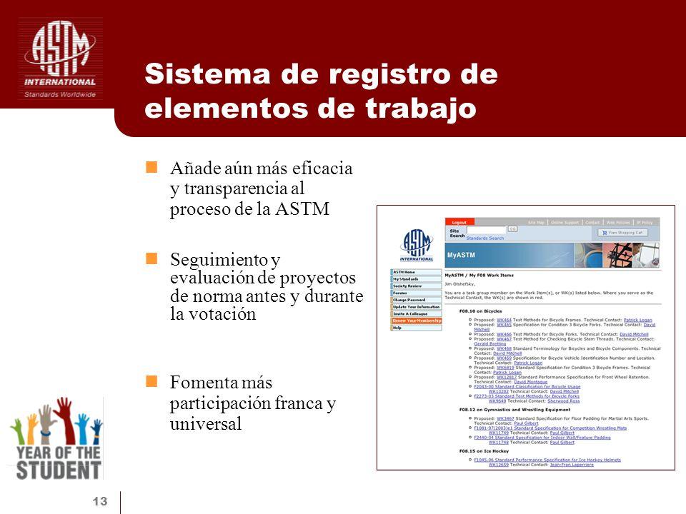 13 Sistema de registro de elementos de trabajo Añade aún más eficacia y transparencia al proceso de la ASTM Seguimiento y evaluación de proyectos de n