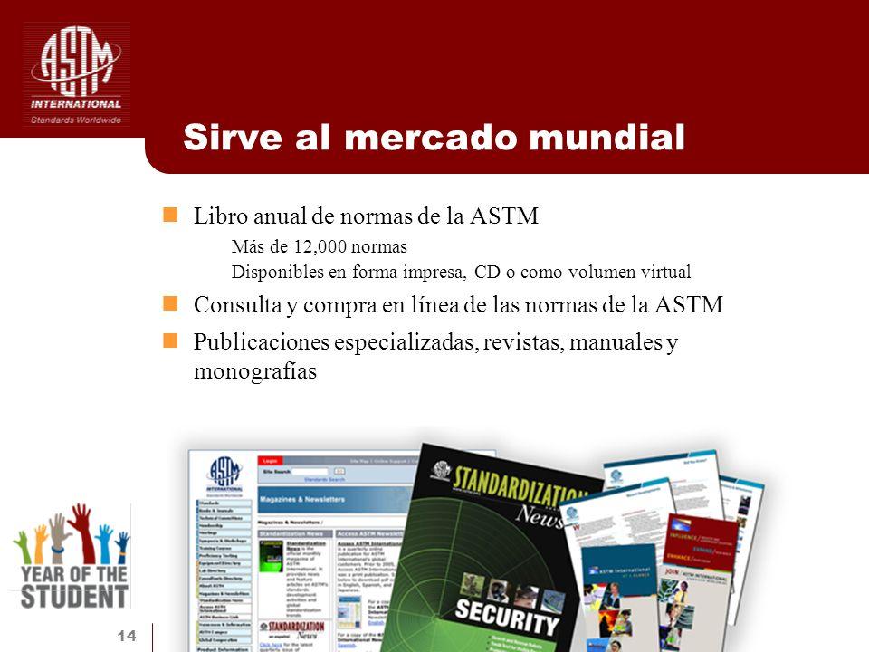 14 Sirve al mercado mundial Libro anual de normas de la ASTM Más de 12,000 normas Disponibles en forma impresa, CD o como volumen virtual Consulta y c