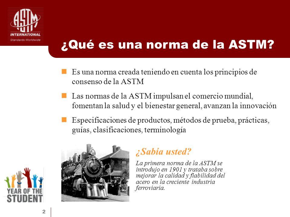 2 ¿Qué es una norma de la ASTM? Es una norma creada teniendo en cuenta los principios de consenso de la ASTM Las normas de la ASTM impulsan el comerci