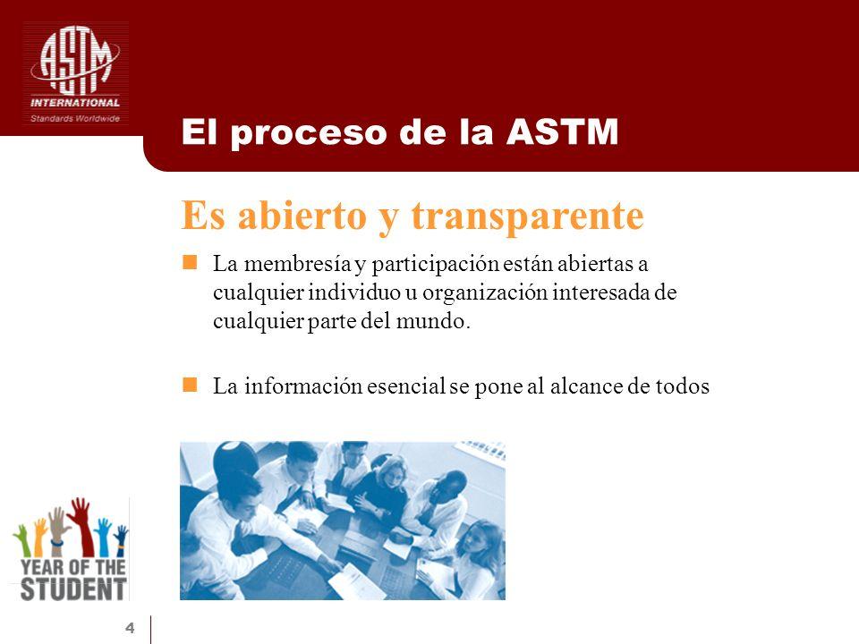 4 El proceso de la ASTM La membresía y participación están abiertas a cualquier individuo u organización interesada de cualquier parte del mundo. La i