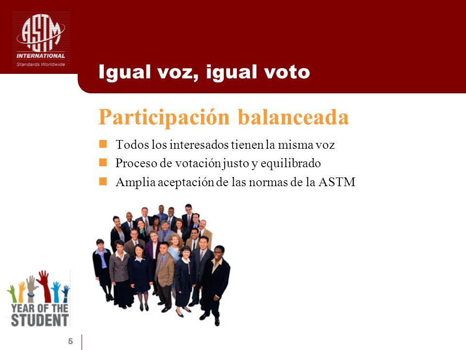 5 Igual voz, igual voto Todos los interesados tienen la misma voz Proceso de votación justo y equilibrado Amplia aceptación de las normas de la ASTM P