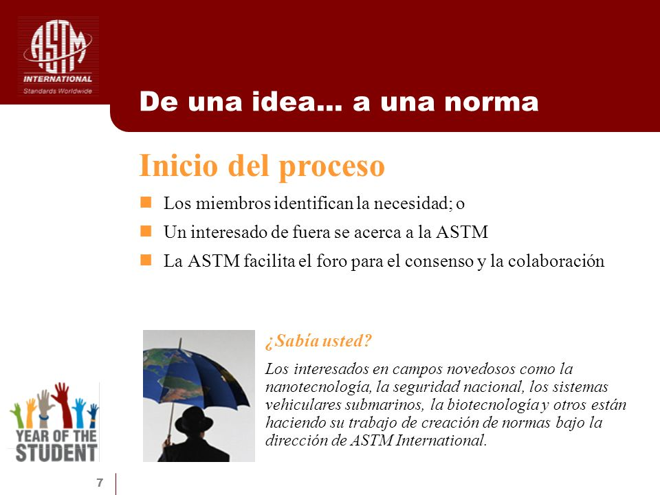 7 De una idea... a una norma Los miembros identifican la necesidad; o Un interesado de fuera se acerca a la ASTM La ASTM facilita el foro para el cons