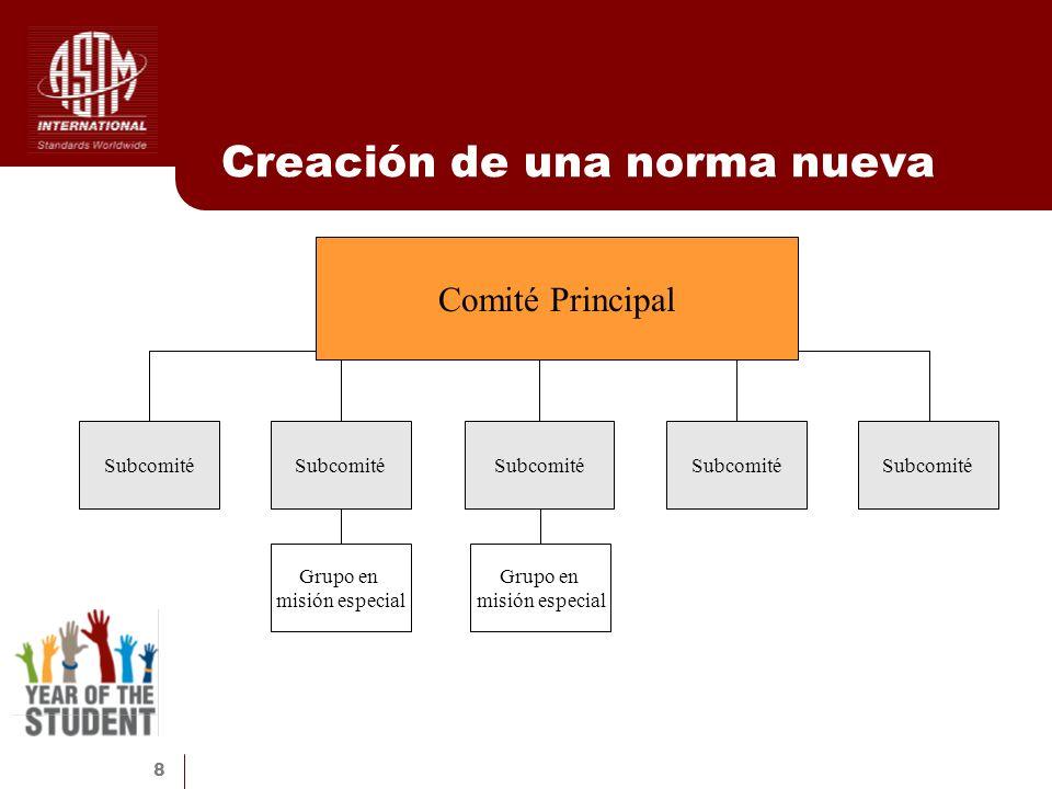 8 Creación de una norma nueva Comité Principal Subcomité Grupo en misión especial