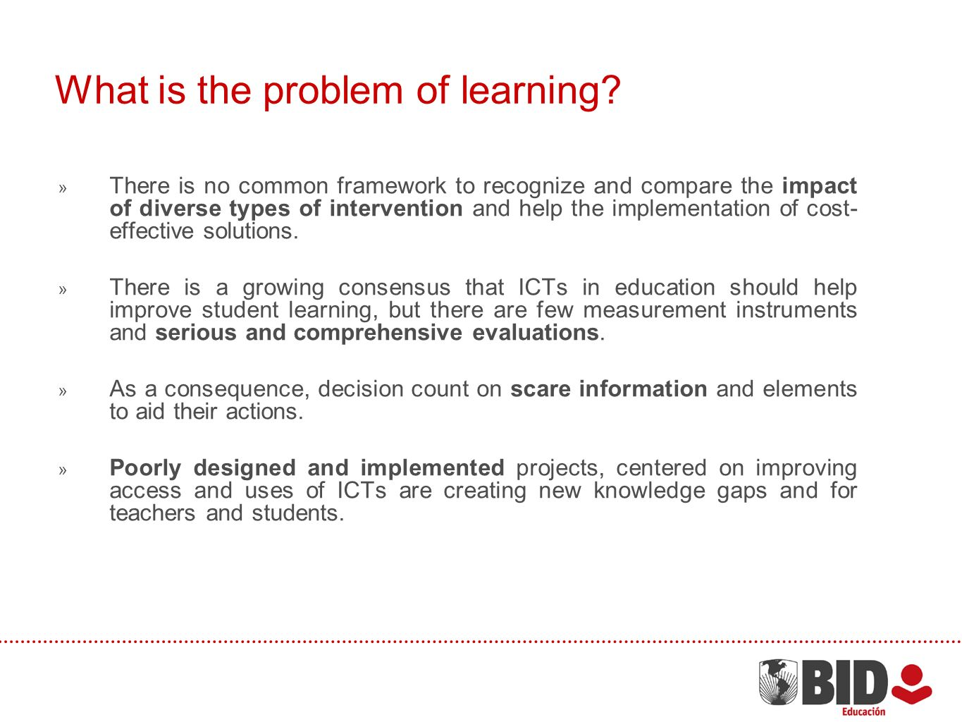 What is the problem of learning.