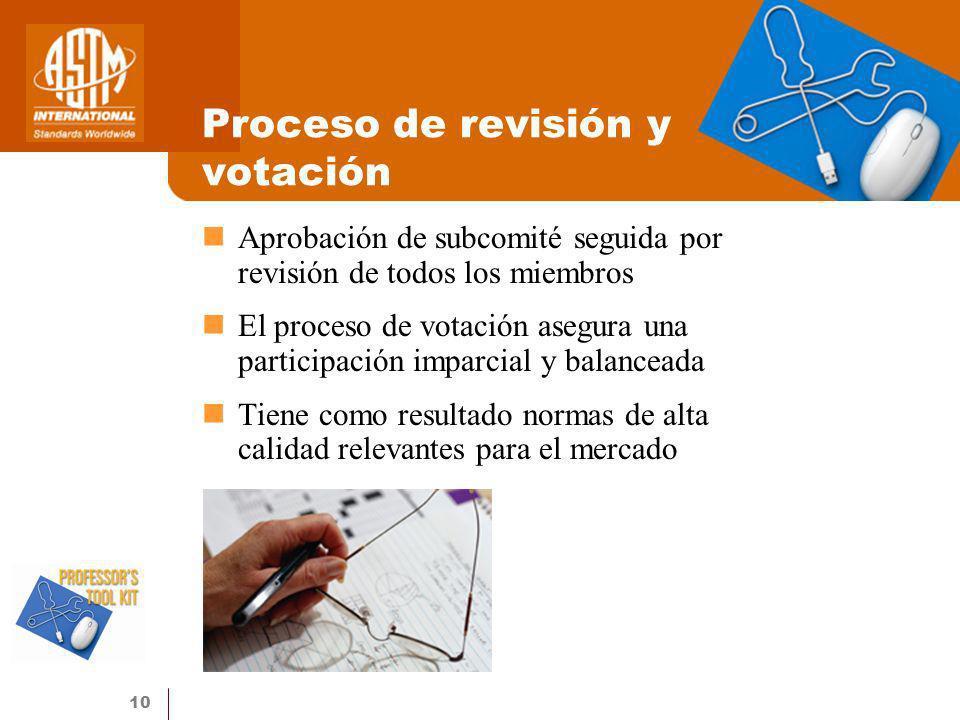 10 Proceso de revisión y votación Aprobación de subcomité seguida por revisión de todos los miembros El proceso de votación asegura una participación