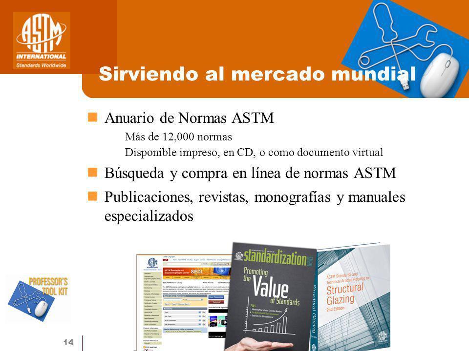 14 Sirviendo al mercado mundial Anuario de Normas ASTM Más de 12,000 normas Disponible impreso, en CD, o como documento virtual Búsqueda y compra en l