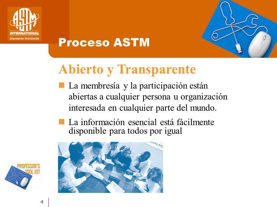 4 Proceso ASTM La membresía y la participación están abiertas a cualquier persona u organización interesada en cualquier parte del mundo. La informaci
