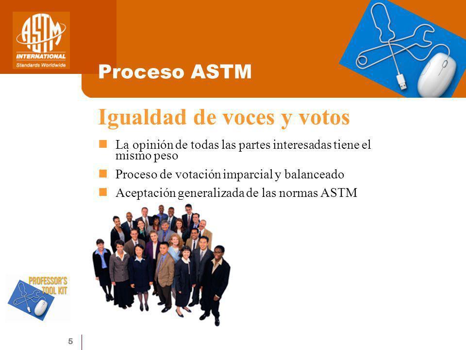 5 Proceso ASTM La opinión de todas las partes interesadas tiene el mismo peso Proceso de votación imparcial y balanceado Aceptación generalizada de la