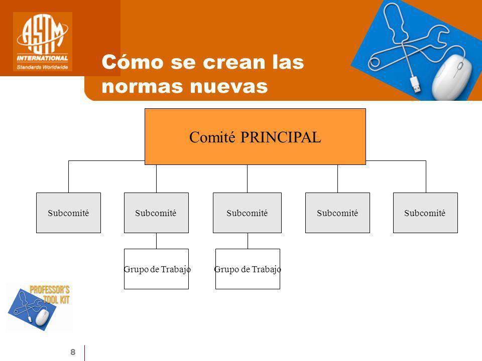 8 Cómo se crean las normas nuevas Comité PRINCIPAL Subcomité Grupo de Trabajo