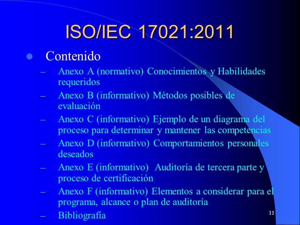 11 ISO/IEC 17021:2011 Contenido – Anexo A (normativo) Conocimientos y Habilidades requeridos – Anexo B (informativo) Métodos posibles de evaluación –