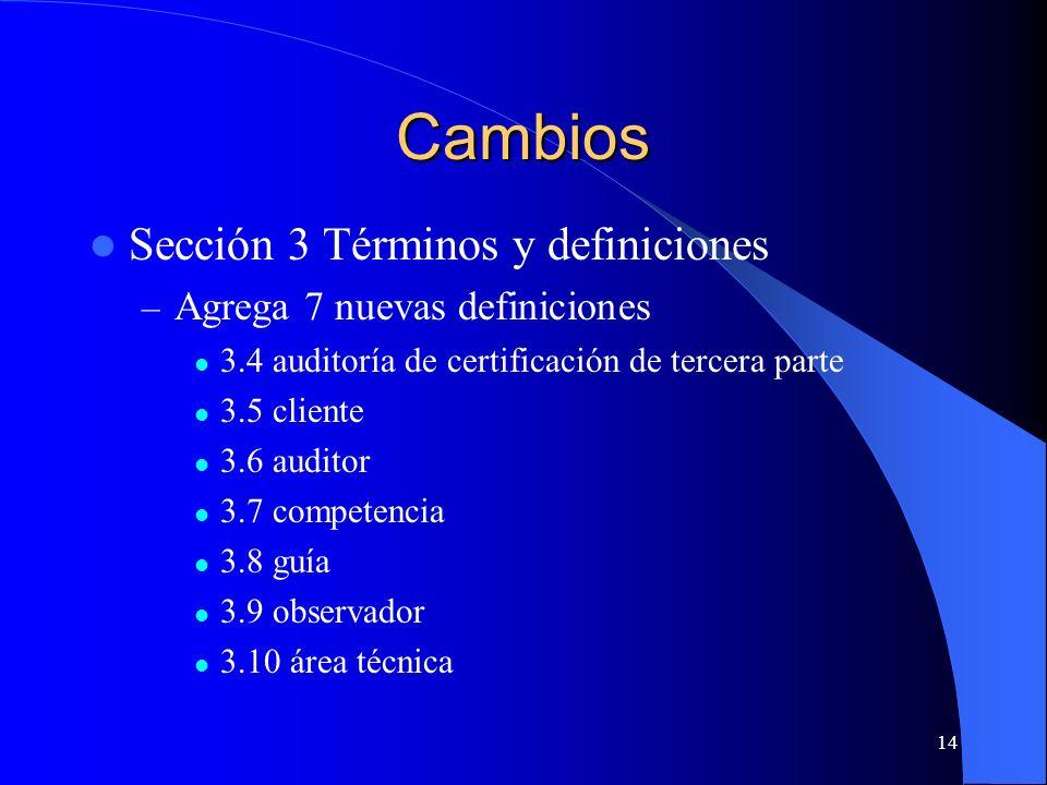 Cambios Sección 3 Términos y definiciones – Agrega 7 nuevas definiciones 3.4 auditoría de certificación de tercera parte 3.5 cliente 3.6 auditor 3.7 c