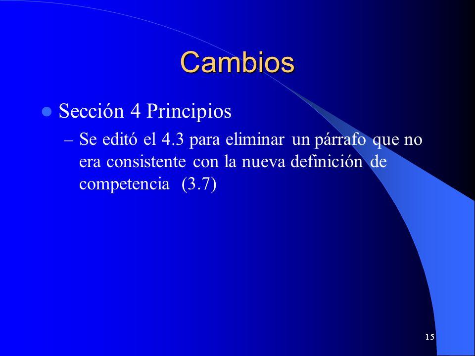 Cambios Sección 4 Principios – Se editó el 4.3 para eliminar un párrafo que no era consistente con la nueva definición de competencia (3.7) 15