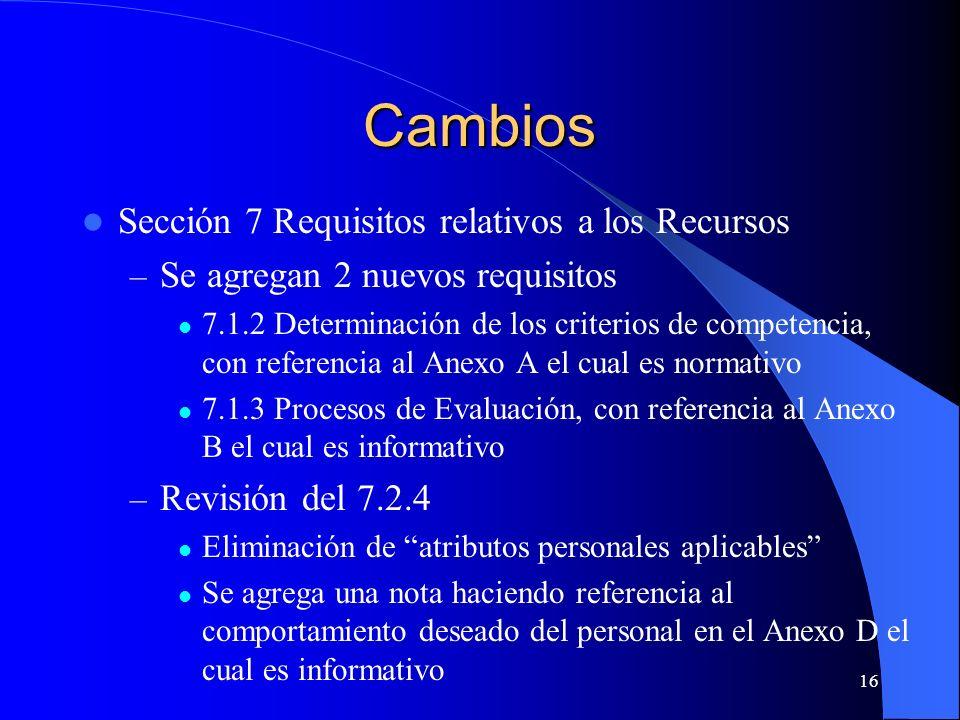 Cambios Sección 7 Requisitos relativos a los Recursos – Se agregan 2 nuevos requisitos 7.1.2 Determinación de los criterios de competencia, con refere