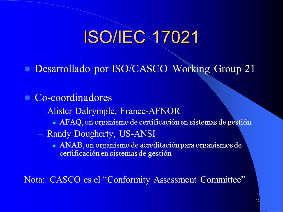 2 ISO/IEC 17021 Desarrollado por ISO/CASCO Working Group 21 Co-coordinadores – Alister Dalrymple, France-AFNOR AFAQ, un organismo de certificación en