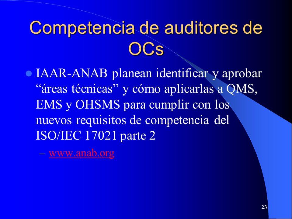 IAAR-ANAB planean identificar y aprobar áreas técnicas y cómo aplicarlas a QMS, EMS y OHSMS para cumplir con los nuevos requisitos de competencia del
