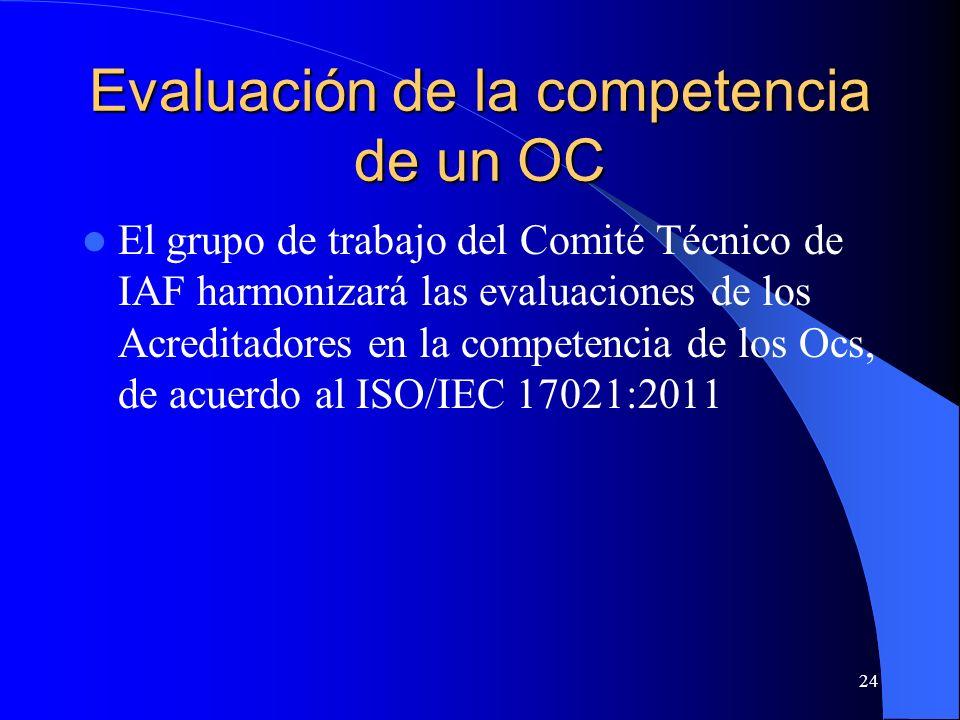 El grupo de trabajo del Comité Técnico de IAF harmonizará las evaluaciones de los Acreditadores en la competencia de los Ocs, de acuerdo al ISO/IEC 17