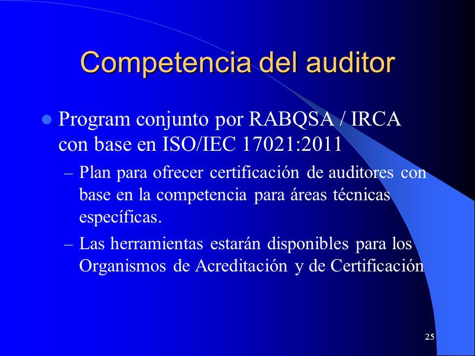 Program conjunto por RABQSA / IRCA con base en ISO/IEC 17021:2011 – Plan para ofrecer certificación de auditores con base en la competencia para áreas