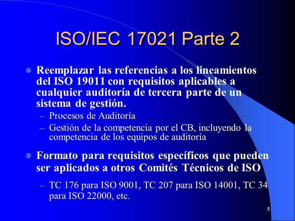 6 Requisitos Generales para Auditorías de 3a Parte y Gestión de Competencia (basados en 19011) QMS Requisitos de Competencia Específicos Esquema para Desarrollar Requisitos Específicos para Auditorías de 3 a Parte y Gestión de Competencia Incluidos en 17021 Parte 2, desarrollados por WG 21 con información de organismos de competencias EMS Requisitos de Competencia Específicos FSMS Requisitos de Competencia Específicos ISMS Requisitos de Competencia Específicos xMS Requisitos de Competencia Específicos Desarrollados por un organismos de competencias usando el esquema 17021 Part e2, en consulta con CASCO, y publicados como documentos independientes del sector QMS Competent Body, e.g.