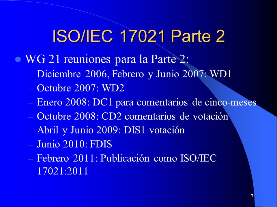 WG 21 reuniones para la Parte 2: – Diciembre 2006, Febrero y Junio 2007: WD1 – Octubre 2007: WD2 – Enero 2008: DC1 para comentarios de cinco-meses – O