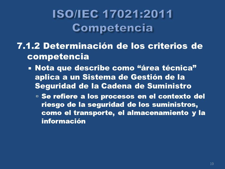 10 7.1.2 Determinación de los criterios de competencia Nota que describe como área técnica aplica a un Sistema de Gestión de la Seguridad de la Cadena de Suministro Se refiere a los procesos en el contexto del riesgo de la seguridad de los suministros, como el transporte, el almacenamiento y la información
