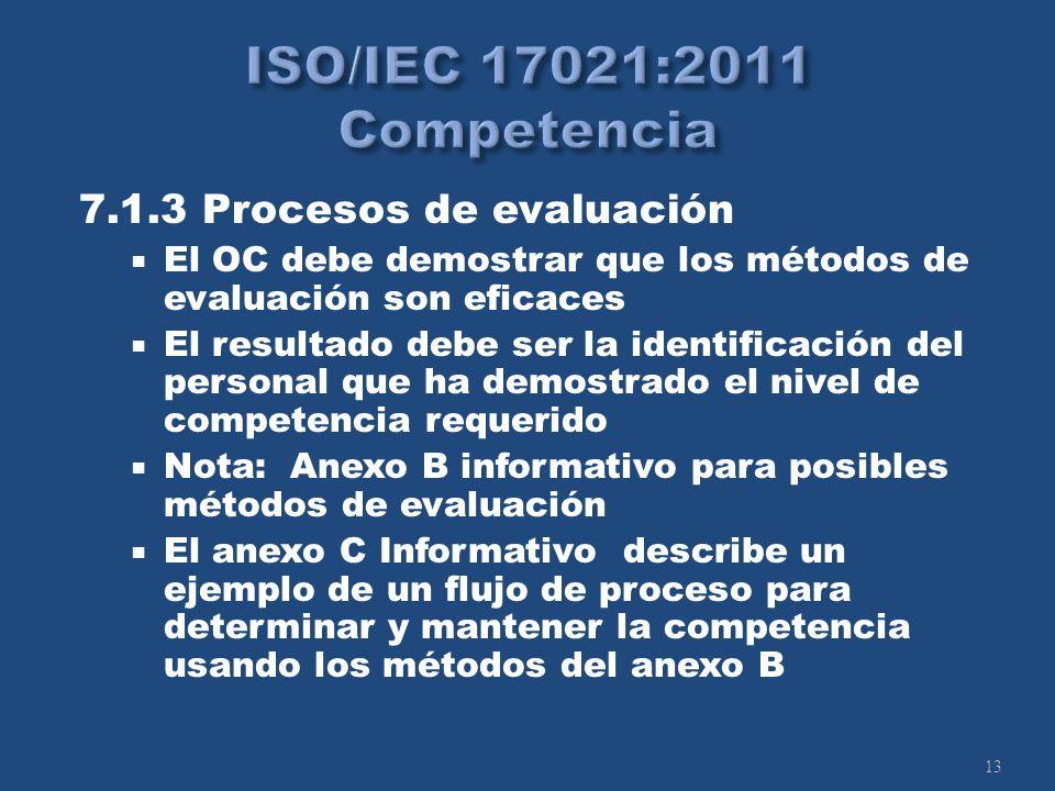 13 7.1.3 Procesos de evaluación El OC debe demostrar que los métodos de evaluación son eficaces El resultado debe ser la identificación del personal que ha demostrado el nivel de competencia requerido Nota: Anexo B informativo para posibles métodos de evaluación El anexo C Informativo describe un ejemplo de un flujo de proceso para determinar y mantener la competencia usando los métodos del anexo B