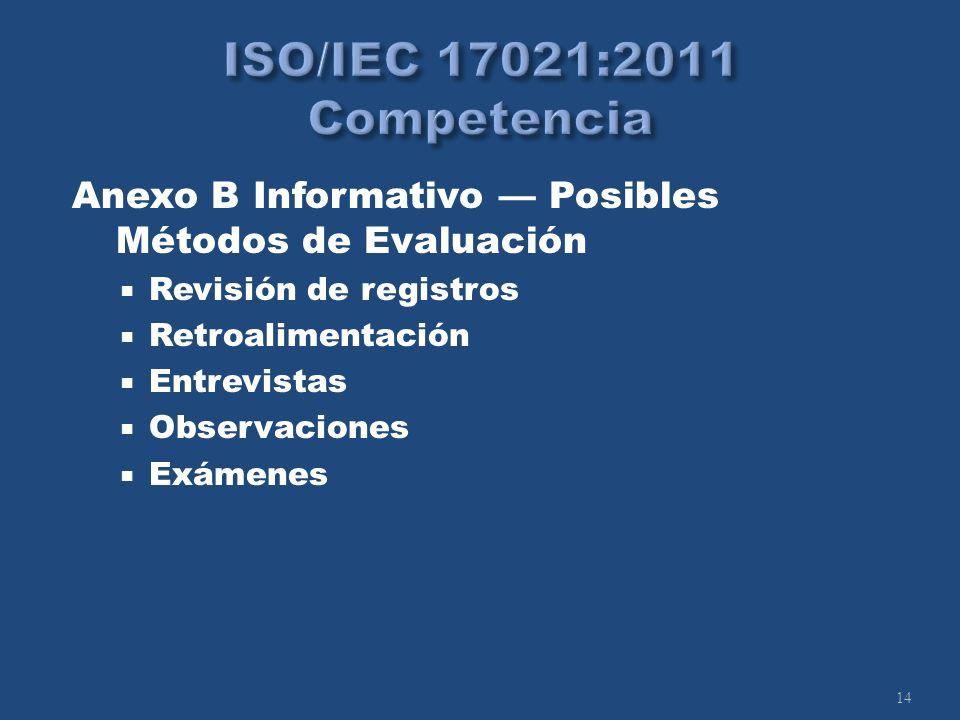 14 Anexo B Informativo Posibles Métodos de Evaluación Revisión de registros Retroalimentación Entrevistas Observaciones Exámenes