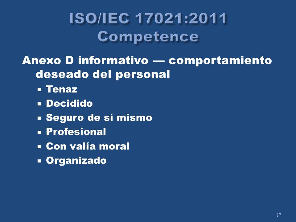 17 Anexo D informativo comportamiento deseado del personal Tenaz Decidido Seguro de sí mismo Profesional Con valía moral Organizado