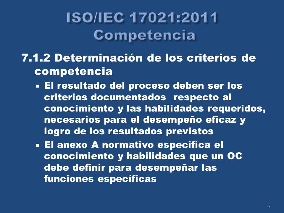 6 7.1.2 Determinación de los criterios de competencia El resultado del proceso deben ser los criterios documentados respecto al conocimiento y las habilidades requeridos, necesarios para el desempeño eficaz y logro de los resultados previstos El anexo A normativo especifica el conocimiento y habilidades que un OC debe definir para desempeñar las funciones específicas