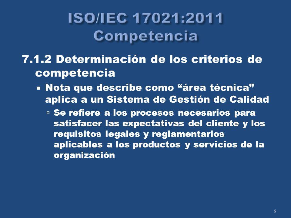 8 7.1.2 Determinación de los criterios de competencia Nota que describe como área técnica aplica a un Sistema de Gestión de Calidad Se refiere a los procesos necesarios para satisfacer las expectativas del cliente y los requisitos legales y reglamentarios aplicables a los productos y servicios de la organización