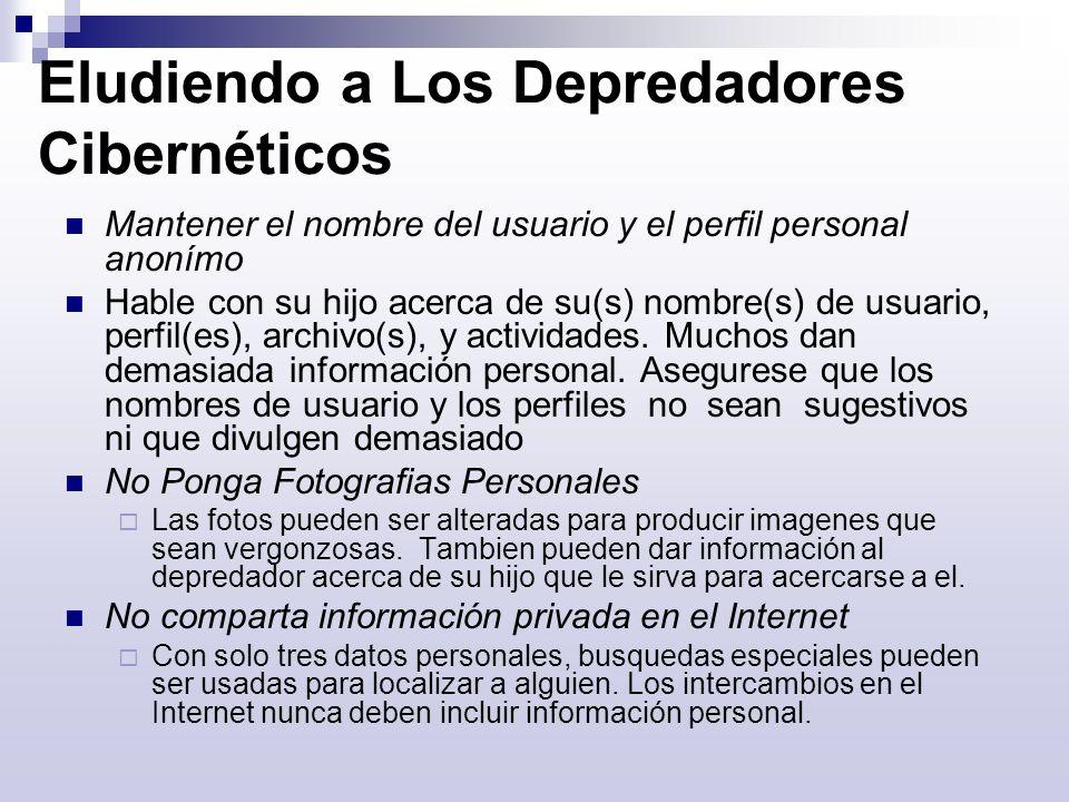 Eludiendo a Los Depredadores Cibernéticos Mantener el nombre del usuario y el perfil personal anonímo Hable con su hijo acerca de su(s) nombre(s) de u