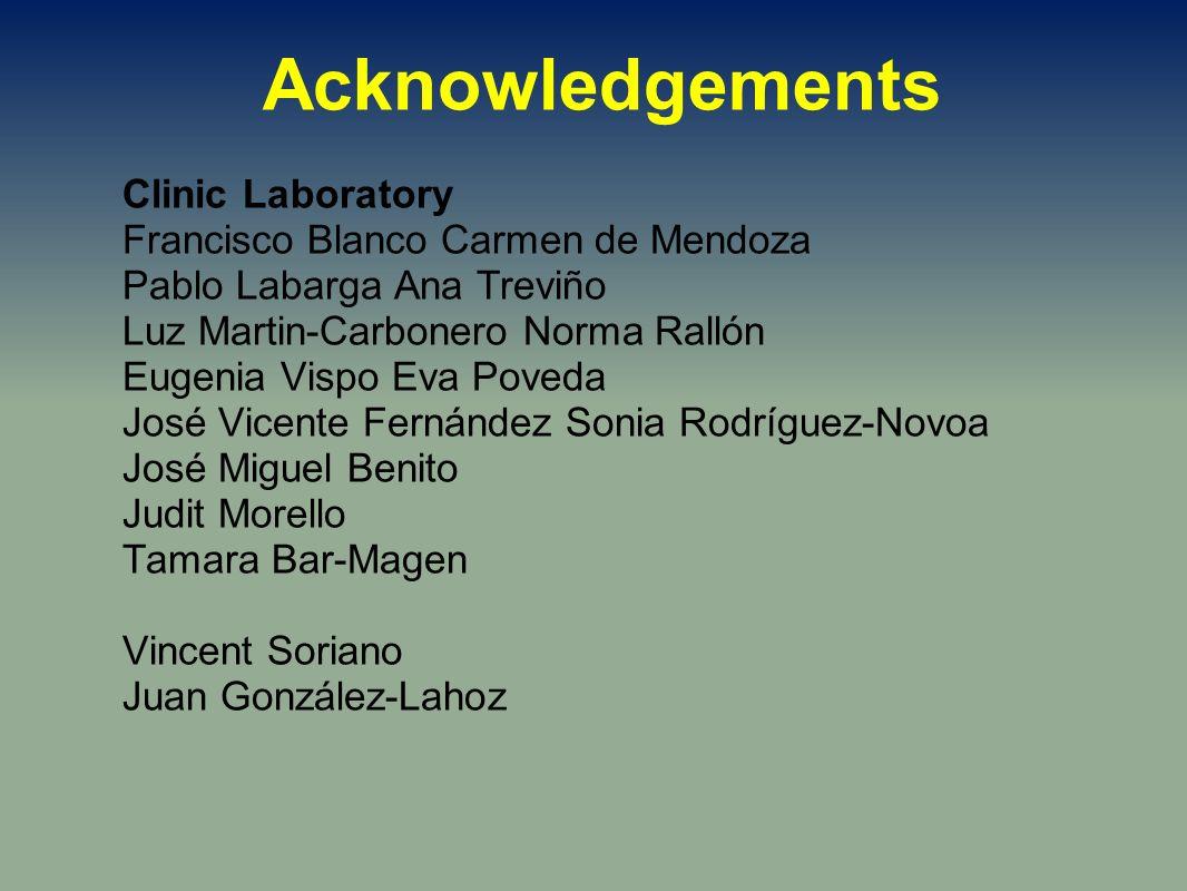 Clinic Laboratory Francisco Blanco Carmen de Mendoza Pablo Labarga Ana Treviño Luz Martin-Carbonero Norma Rallón Eugenia Vispo Eva Poveda José Vicente