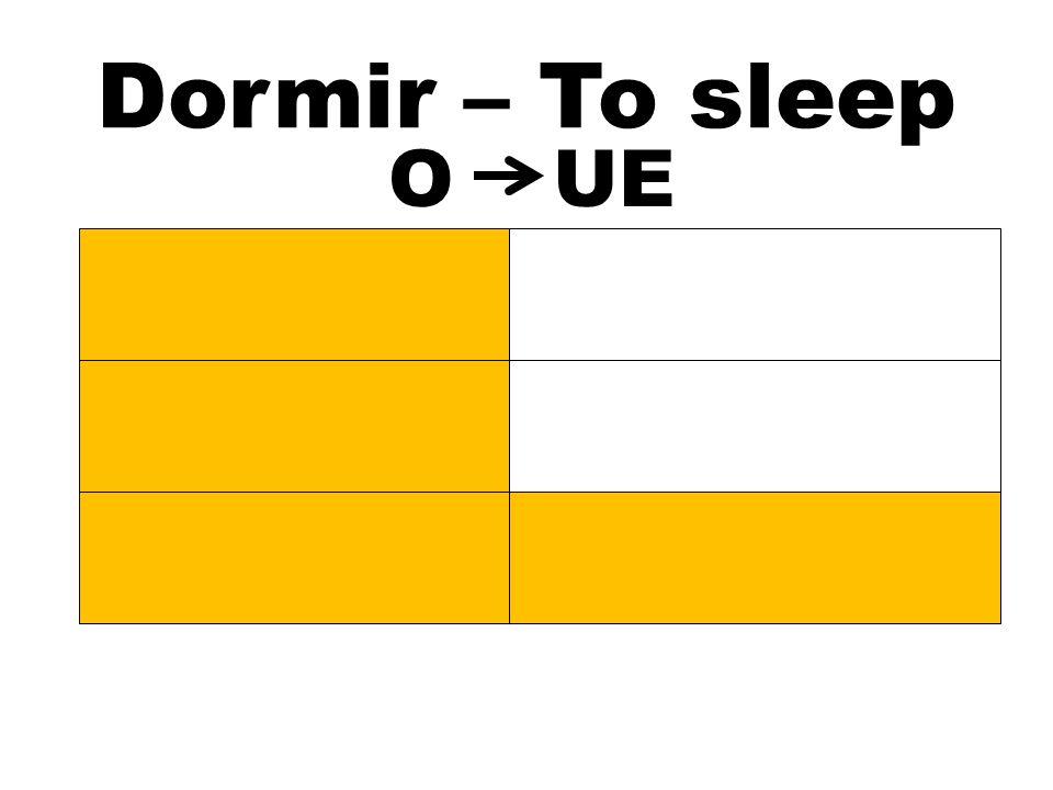 Dormir – To sleep Dormimos Dormís Duermen OUE Duermo Duermes Duerme