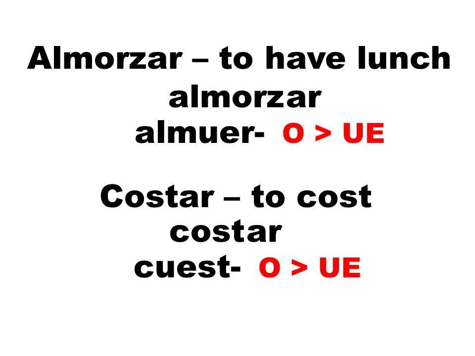 Almorzar – to have lunch almorzar almuer- O > UE Costar – to cost costar cuest- O > UE