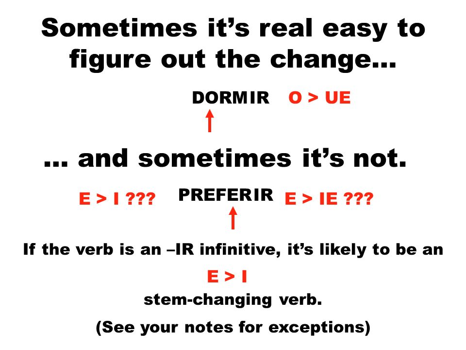 Sometimes its real easy to figure out the change… DORMIR … and sometimes its not. PREFERIR E > I ???E > IE ??? If the verb is an –IR infinitive, its l