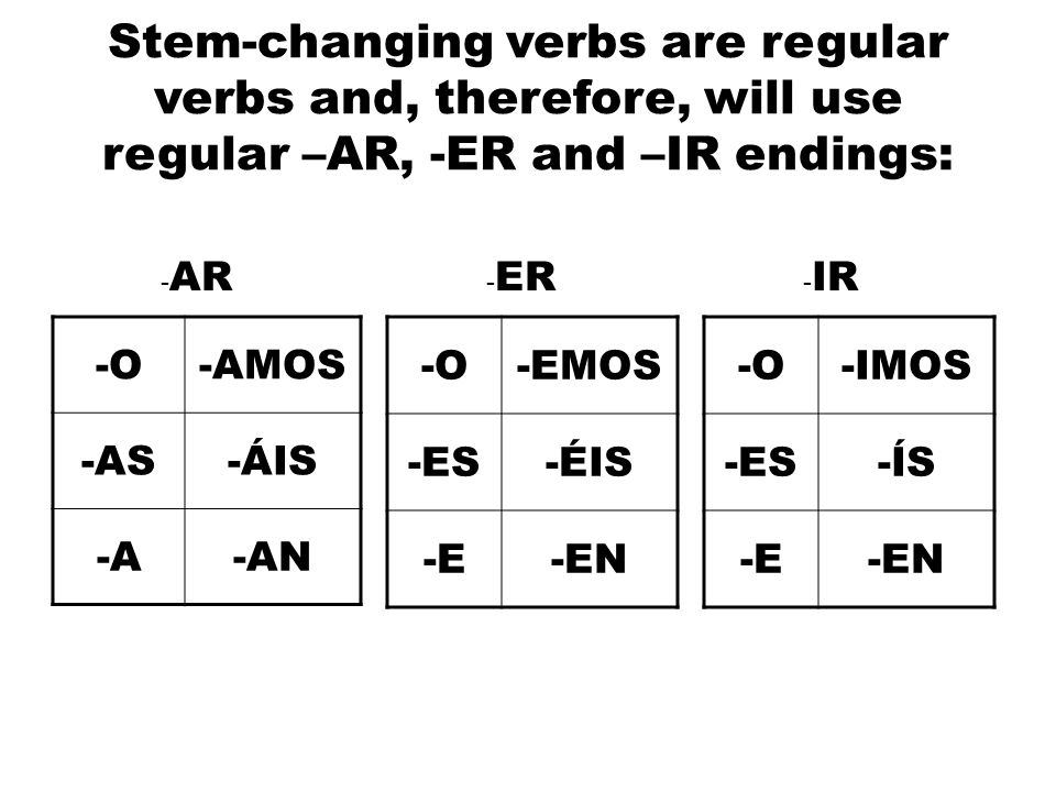 Stem-changing verbs are regular verbs and, therefore, will use regular –AR, -ER and –IR endings: -O-AMOS -AS-ÁIS -A-AN -O-IMOS -ES-ÍS -E-EN -O-EMOS -ES-ÉIS -E-EN - AR - ER - IR