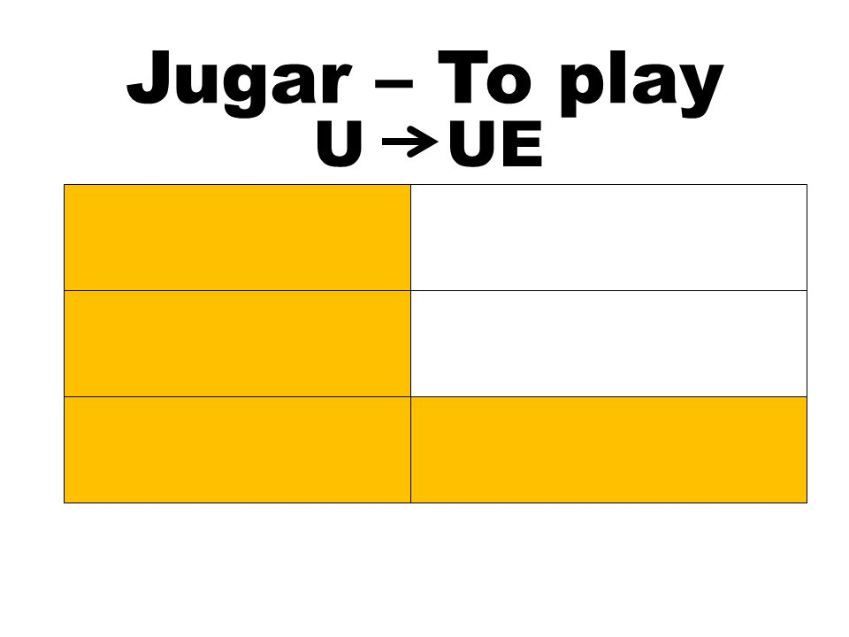 Jugar – To play Jugamos Jugáis Juegan UUE Juego Juegas Juega