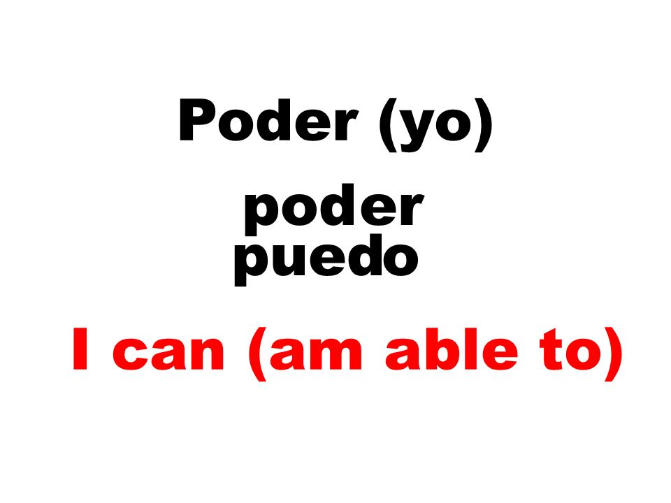 Poder – To be able Podemos Podéis Pueden OUE Puedo Puedes Puede
