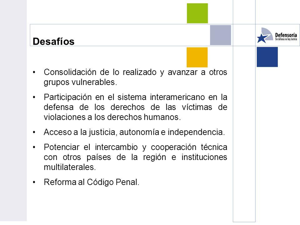 Desafíos Consolidación de lo realizado y avanzar a otros grupos vulnerables.