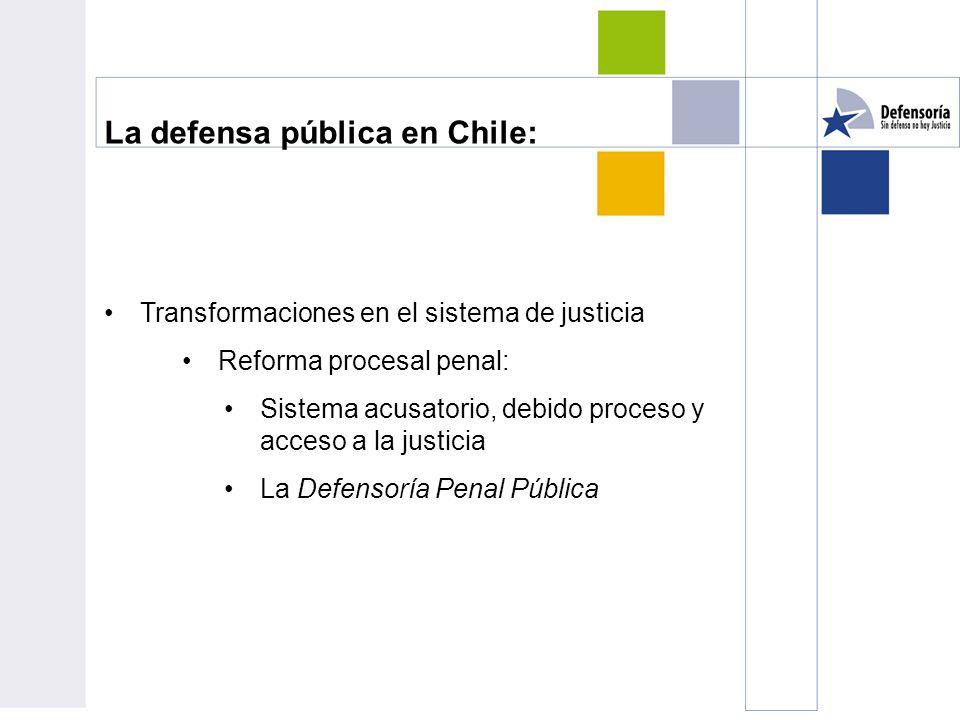 La defensa pública en Chile: Transformaciones en el sistema de justicia Reforma procesal penal: Sistema acusatorio, debido proceso y acceso a la justicia La Defensoría Penal Pública
