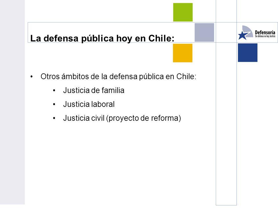 La defensa pública hoy en Chile: Otros ámbitos de la defensa pública en Chile: Justicia de familia Justicia laboral Justicia civil (proyecto de reforma)