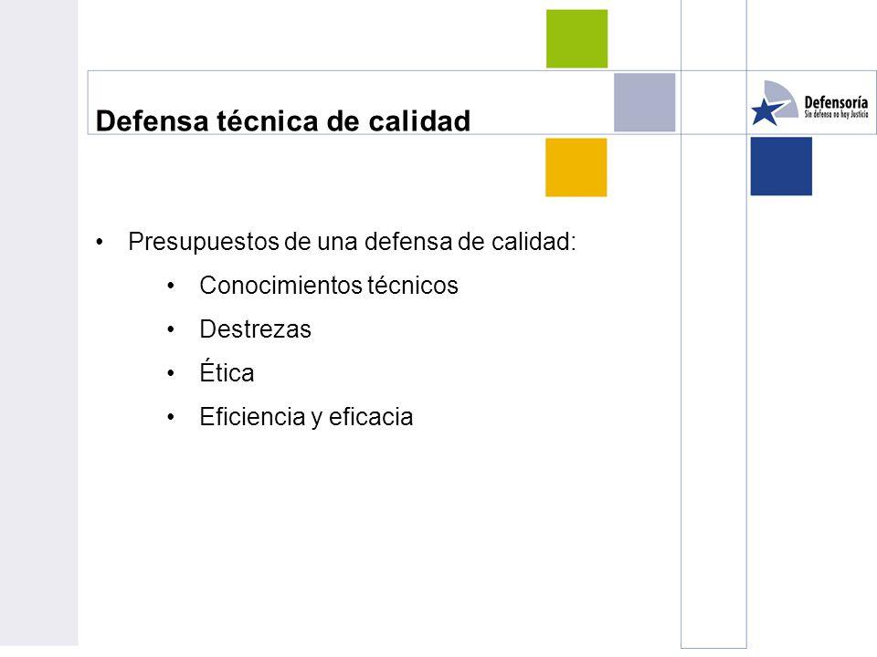 Defensa técnica de calidad Presupuestos de una defensa de calidad: Conocimientos técnicos Destrezas Ética Eficiencia y eficacia